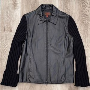 Danier black leather jacket with knitted sleeves
